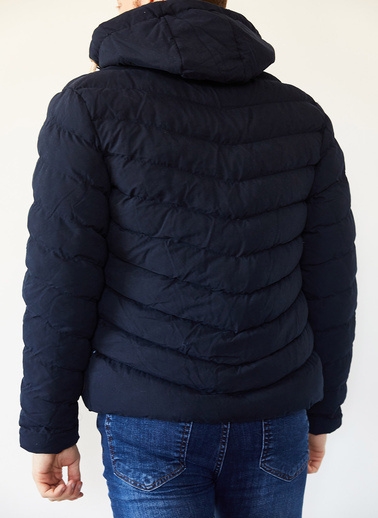 XHAN Hardal Kapüşonlu Comfort Slim Fit Şişme Mont 0Yxe4-44076-37 Lacivert